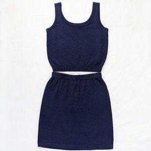 St. John Navy Blue Santana Skirt And Tank Top Set